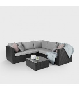 Francesco Corner Patio Lounge Set - Black