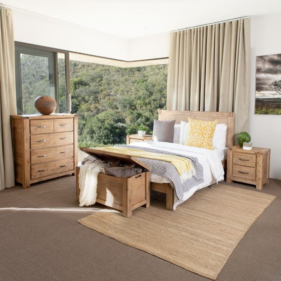 Vcer2 Bed Combo Vancouver Acacia Wood Bedroom Suite
