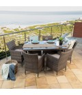 Durante 6 Seater Patio Dining Set - Brown