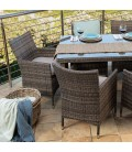 BHR-2025-BR - Durante 6 Seater Patio Dining Set - Brown -