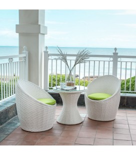 White Adena 3 Piece Outdoor Cocktail Patio Set -