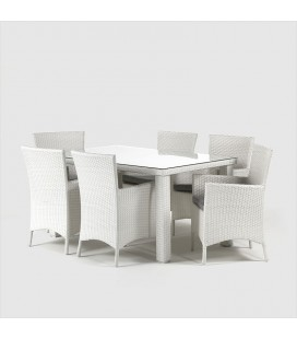 Durante 6 Seater Patio Dining Set - White