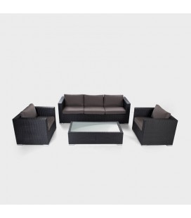 Havana 4 Piece Patio Lounge Set Black 3 1 1 | Patio Sets -
