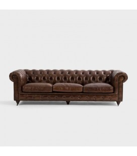 Jefferson Chesterfield 3 Seater Leather Couch - Vintage Brown -