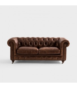 Jefferson Chesterfield 2 Seater Couch - Vintage Brown -