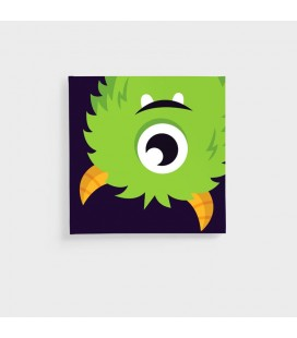 CAN-KID-004-A - Kids Wall Art - Monsters Collection Green Monster Canvas -