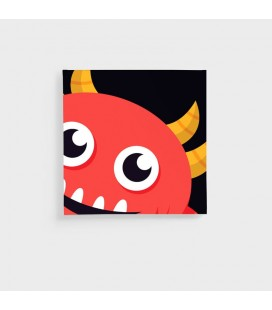 CAN-KID-004-B - Kids Wall Art - Monsters Collection Red Monster Canvas -