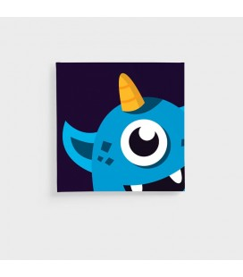 CAN-KID-004-D - Kids Wall Art - Monsters Collection Blue Monster Canvas -