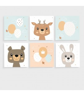 CAN-KID-003-AtoF - Kids Wall Art - Nursery Collection Canvas Set -