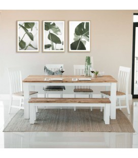 Waldorf Dining Table + 1 x Waldorf Bench + 4 x Waldorf Dining Chairs