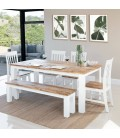 LIINA-DT190+BENCH1+CH01X4 - Waldorf Dining Table + 1 x Waldorf Bench + 4 x Waldorf Dining Chairs -