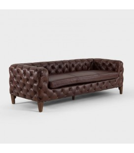 Drake Full Leather Sofa - Dark Brown