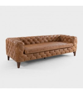 Drake Full Leather Sofa - Brown