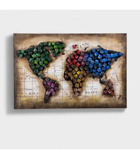 3D Wall Art - World Map - Colour