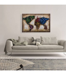 World Map Colour 3D Wall Art | Wall Art for Sale -
