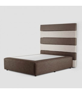 Drew Bed Base and Headboard - Brown and Stone