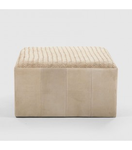 Leather Ottoman - Fawn