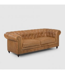 Colton Chesterfield Full Leather Couch - Tan