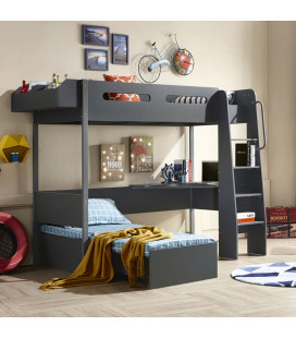 PE-5141 - Meteor Study Bunk Bed - Charcoal -