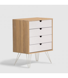 Tom 4 Drawer Cabinet - White & Natural -