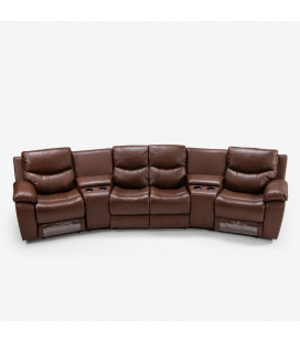 Christopher 4 Seater Cinema Recliner - Cinnamon | Living | Recliner Sets | Couches | Cielo -