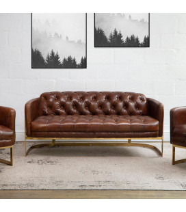 HBF3070-3 - Heston Chesterfield Couch - Gold Framed -