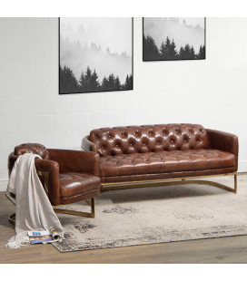 Gold Heston Chesterfield Couch | Leather Couches -