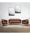 HBF3070-3+HBF3070-1(x2) - Heston Chesterfield Lounge Suite - Gold Framed -