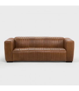 EL-J-3ST-SGIN - Rockefeller Leather Couch - Light Brown -