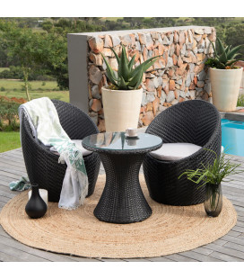 Adena 3 Piece Outdoor Patio Cocktail Set - Black