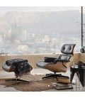 Replica Eames Chair and Ottoman - Black | Leather Loungers -