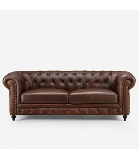 Colton Chesterfield Full Leather Couch - Cinnamon