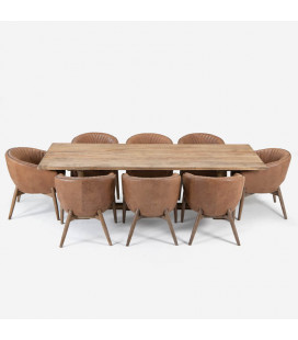 Bordeaux Lennon Dining Set - 2.7m - Tan