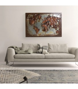 PT-T120255 - 3D Metal Wall Art - World Map -