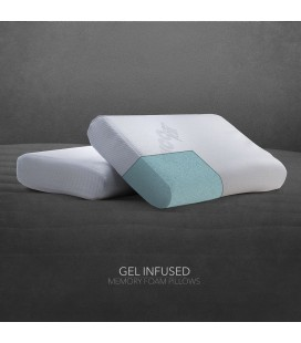 2 x Visco Pedic Gel Infused Memory Foam Pillow