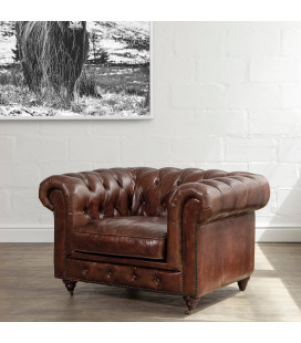 Jefferson Chesterfield Armchair - Vintage Brown -