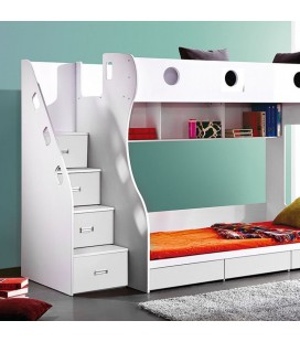PE-5057 Combo - Storage Bunk Bed and 2x Mattresses and 2x Classic Pillows and 2x Duvets -