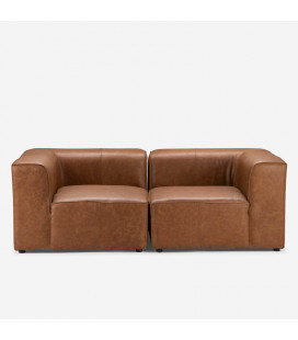 Burbank 2 Seater Couch - Tan | Leather Couches | Lounge | Living | Cielo -