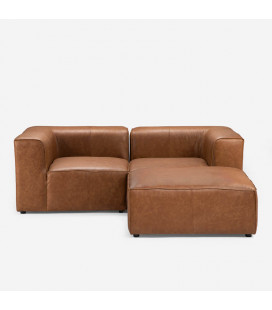 Burbank L Shape - Tan| Leather Couches | Lounge | Living | Cielo -