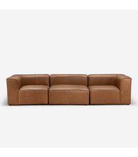 Burbank 3 Seater Couch - Tan | Leather Couches | Lounge | Living | Cielo -