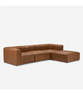Burbank 3 Seater Couch - L-Shape - Tan | Leather Couches | Lounge | Living | Cielo -