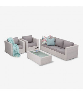 Montae 4 Piece Patio Lounge Set - White -