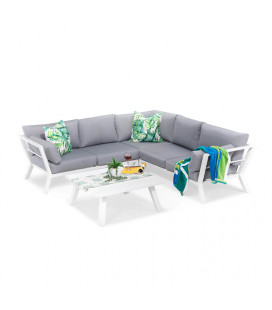 Marsala Corner Patio Lounge Set - White | Patio | Patio Sets | Outdoor Furniture | Cielo -