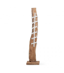 Teakroot Wine Rack with White Metal Base-3 | Decor | Freestanding Art | Art | Cielo -