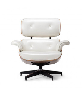 Replica Eames Chair + Ottoman - White | Leather Loungers | Leather | Living | Cielo -
