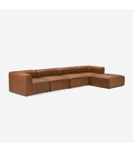 Burbank Modular Leather Couch - Tan| Leather Couches | Lounge | Living | Cielo -