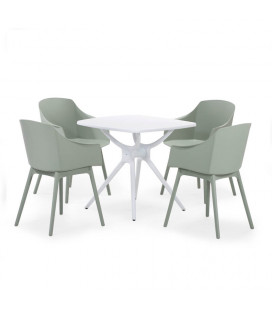 Larson Dining Table - White + 4 Parker Dining Chairs | Dining Room | Combo Deals | Cielo -