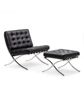 Replica Barcelona Chair + Footstool - Black | Armchairs for Sale | Living | Cielo -