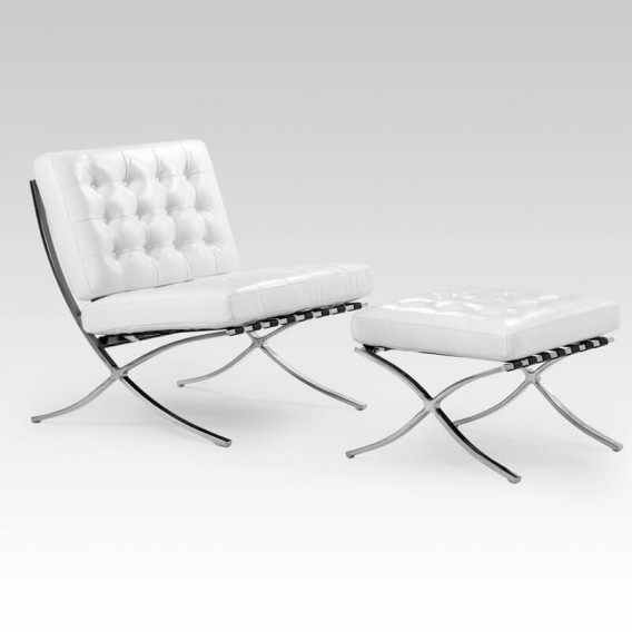 Replica Barcelona Chair + Footstool - White | Armchairs for Sale | Living | Cielo -