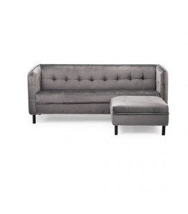 Charlie Couch + Idris Ottoman - Velvet Charcoal | Living | Couches for Sale | Living | Cielo -